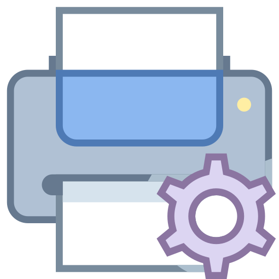Manutenção de impressora icon. The icon for Printer Maintenance is a large horizontal rectangle. There is another long vertical rectangle that is going through the first rectangle. In the center of the first rectangle there is a round gear.