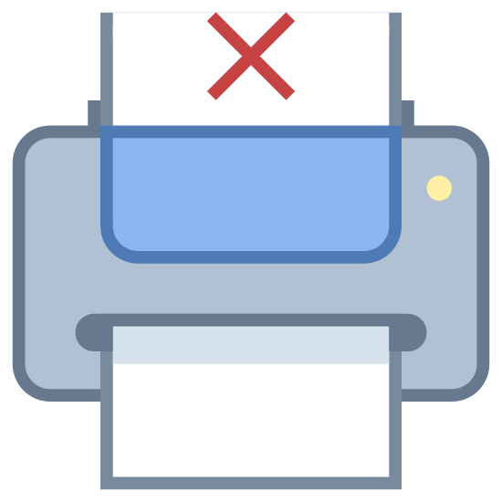 Printer Out of Paper icon. The icon is depicting a computer printer with a piece of paper emerging from it with an x drawn in the center of the paper. The main part of the printer is rectangular shaped with rounded corners and the top portion of the paper is cut off.
