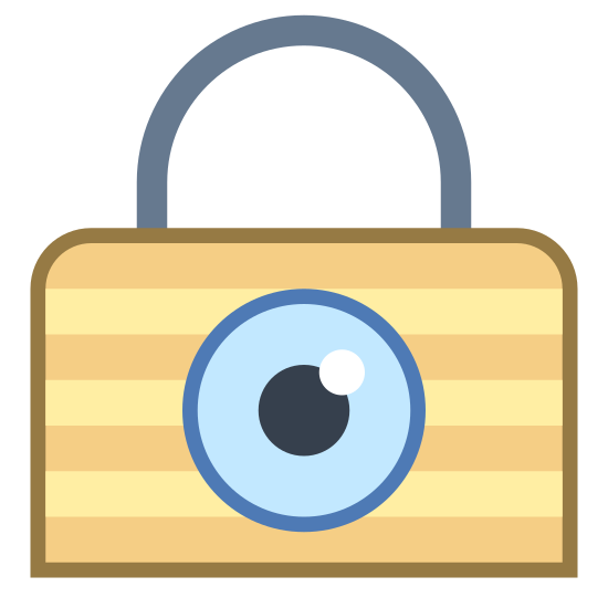 Privacy icon. It's a logo for privacy which has a padlock on it. The lock is made up of a rounded rectangle with a half circle on top. There is a circle in the center of the padlock where the dial is and there is a reflection on it.