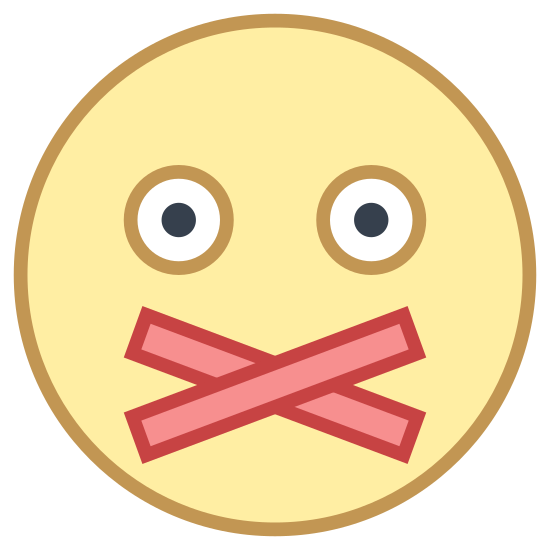 Silent icon. This icon is made up of a circle with two smaller black dots inside and is meant to represent a human head. There are two rectangles crossed below the black dots meant to represent tape that might be used to cover someone's mouth so they can't speak.