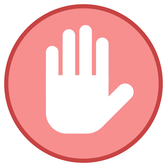 Private icon. There is circle. In the middle of the circle is a picture of a hand that is held up with the palm up and outstretched. The picture of the hand almost completely fills the inside of the circle.