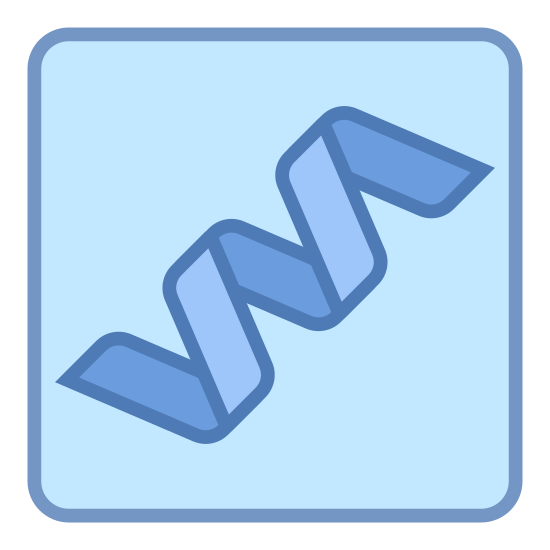 Białko icon. The icon looks like a strand of DNA, but with half of it missing. It's spiral shaped, like a pasta noodle. The icon in placed inside a square with rounded corners.