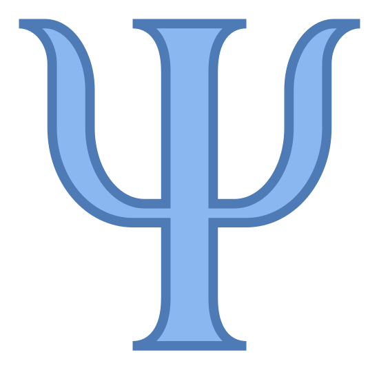 Psychologia icon. The psychology logo is A trident. It consists of a pole like rectangle. On each side of the pole, there are curved barbs, shaped like horns, atached to each side.