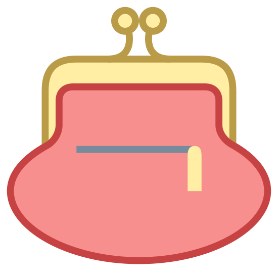 """Purse Back View icon. This icon is a drawing of a """"change purse"""". It has the bag portion at the bottom and the metal bars come from both side and meet at the top where the two clasps snap together to keep it shut. This one has two lines in the center of the bag shaped like an L with the longer line is parallel to the bottom and the small line is facing down."""