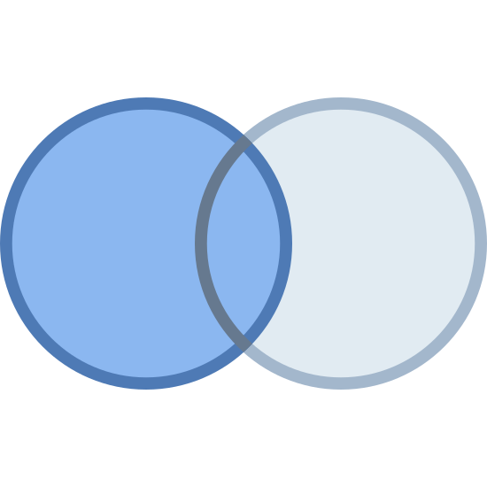 Zapytanie Inner Join Left icon. This looks like two circles overlapping each other, creating a venn-diagram. The left circle is covered in dots.