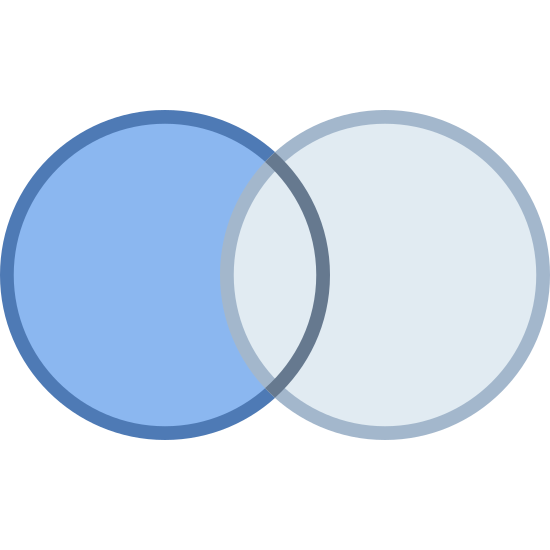 Zapytanie Outer Join Left icon. The icon is a depiction of two circles, one shaded with dots and one empty. The empty circle is overlapping the shaded one. The icon is representative of a relational database query option, to join-left one query with another.