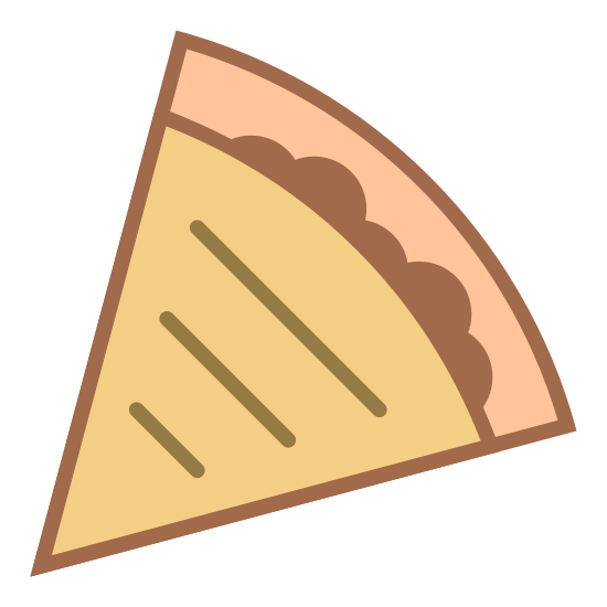 Quesadilla icon. This is a Quesadilla icon. It looks like a slice of pizza except there is a squiggly line where the crust is and instead of circles for pepperoni there are just three horizontal lines.
