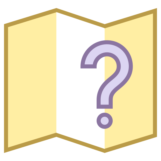 Quest icon. It is an geometric shape, a flat rectangle that has been pushed from either side to cause it to bend up in the middle. The bending has been done neatly, creating sharp angles, forcing the center of the bend into a point along the middle. There is a question mark in its center.