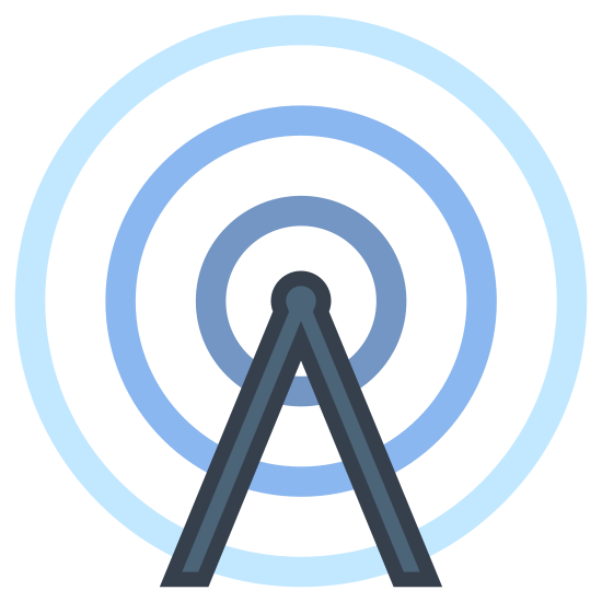 Radio Tower icon. This is a triangular shaped icon depicting a radio tower. In the center of the triangle is a zig-zag shape indicating a metal support frame. At the top of the object is a point with radio waves emanating from the point.
