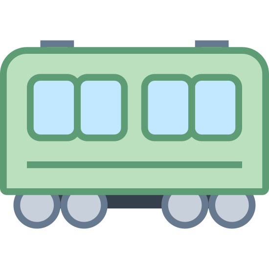 Railcar icon. There is a rectangular shape, and the top corners are rounded. There are four small squares with rounded corners evenly distributed near the top of the rectangle. On the bottom of the rectangle, there are four circles, two sets of two circles joined together by a line. Each set is on opposite ends of the rectangle.