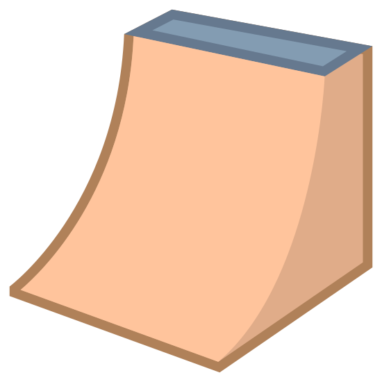 Ramp icon. This icon for ramp consists of a slightly curved rectangle which extends upward and to the right. The top or the ramp is a rectangle attached to the curved ramp, and the base of the ramp is shown to the right as a quadrilateral.