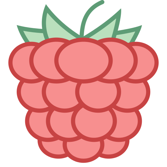 Raspberry icon. There are a bunch of small circles stacked on top of each other. The bottom has three circles all joined together and one the bottom portion of the circle is visible. The next set of circles lies on top of the three and there are four circles all joined together and the tops are cut off by the third row of circles. The third row from the bottom there are four circles. The top row there are five small circles. On top of all the circles are four curvy triangles that represent leafs. In the middle of these is a vertical line that comes up and curves to the right.