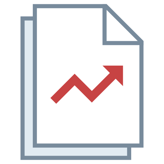 "Ratings icon. It's a logo representing an upwards rating trend. There are two ""pages"", stacked one above the other, with the bottom sheet stacked slightly to the right and under the top sheet, with a an arrow pointing up and to the right, with a small downward trend in the middle of the top sheet."