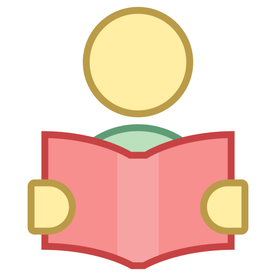 Reading icon. A circle is at the top of the icon, representing a head, and two smaller, somewhat circle like shapes are on the right and left sides representing hands. between the hands are two rectangles drawn in a way to create a 3D impression, with a vertical line drawn down the middle, to create the appearance of a book