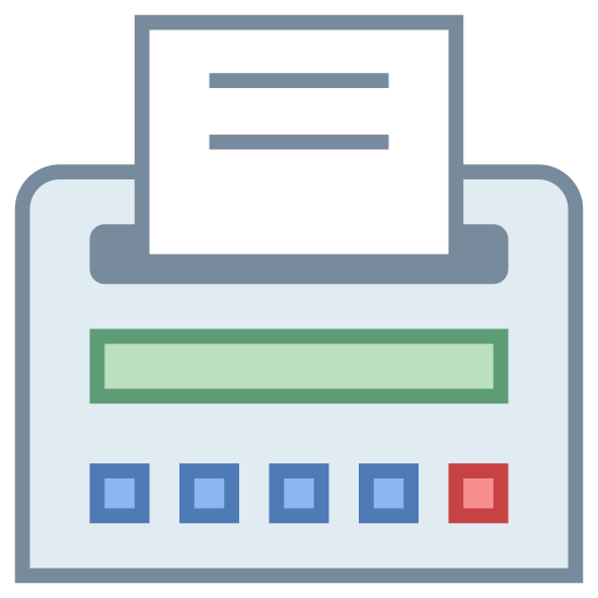 Receipt icon. The image depicts a paper receipt emerging from an object. The receipt itself is jagged and emerging from a rectangular shaped object with three buttons on it. The object has rounded corners.