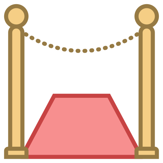 Red Carpet icon. There is a semi-circle base, with a long, thin rectangle extending upward from it, with a circle resting on top. There is a second identical one about an inch to the right, and a slightly concave line connecting them right below the circles. Beneath the concave line is a trapezoid.