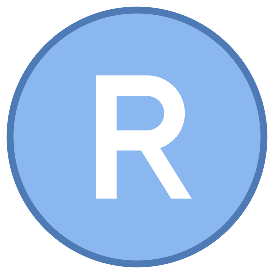 Registered Trademark icon. The icon is used to describe registered trademark. The icon is in the shape of a big circle. In the circle, in the very center there is a large, thick letter R. The icon itself is just a little bit bigger than the R.