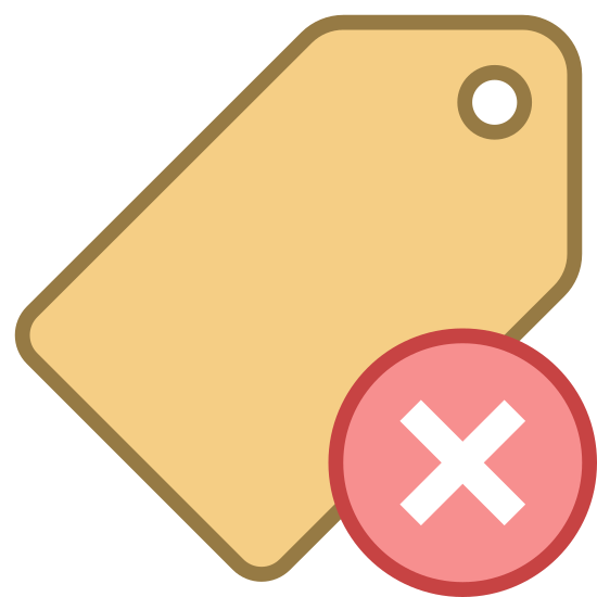 Usuń znacznik icon. The image is a price tag that would usually be found on clothing but it isn't attached to anything. There is not price on the tag. It's just blank. To the right and covering the tab a little is a circle with an 'x' inside.