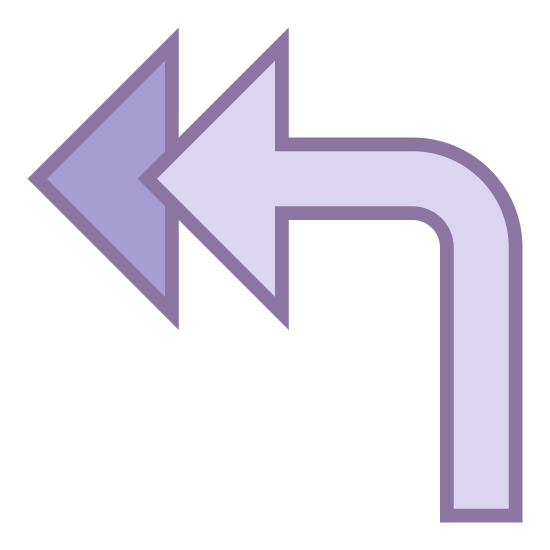 Reply All Arrow icon. The image is a double arrow that's pointing to the left. One arrow covers most of the other one. The points of the arrows are straight to the left but the tail curves up from below then turns to the left.