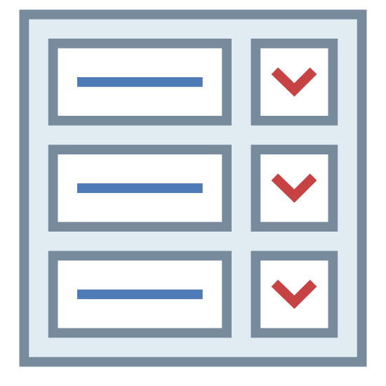 Boletim icon. There is a small piece of paper with three horizontal lines on it and next to each line is a single check mark. The paper seems to resemble a checklist of sorts.