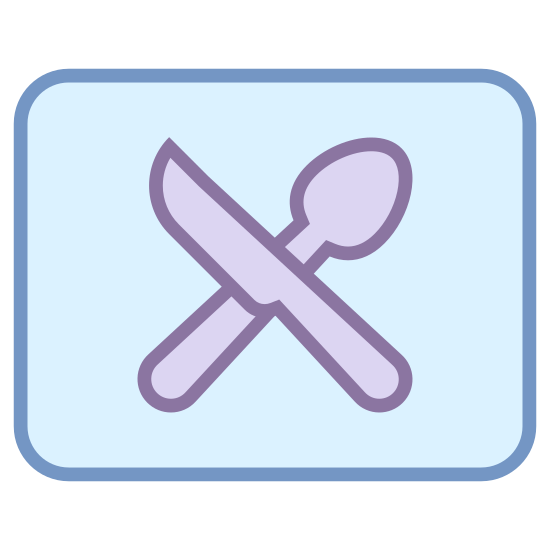 Karta klubowa restauracji icon. This looks like a spoon and a knife inside of a box. They are crossed, the spoon going from the bottom-left to the top-right, and the knife going from the top-left to the bottom-right.