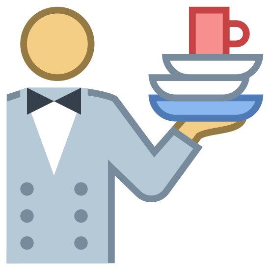 Food Service icon. The logo is of a person from the waist up with their left arm bent at the elbow. Resting on their left hand is a stack of dishes with a cup balanced on top.