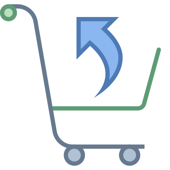 Return Purchase icon. This is a trolley which we use while shopping. This trolley consists of a bar where we can hold and push it and consists of wheels underneath. There is an arrow pointed towards up or north which is from the center of the trolley basket.