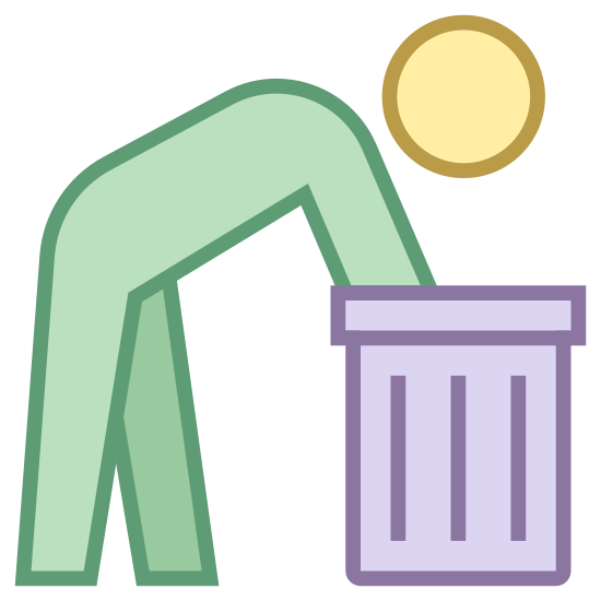 Reuse icon. It's a figure of a man leaning over into a garbage can. The man is reaching into the can with one arm. It looks somewhat similar to a sign you would see on the outside of a restroom