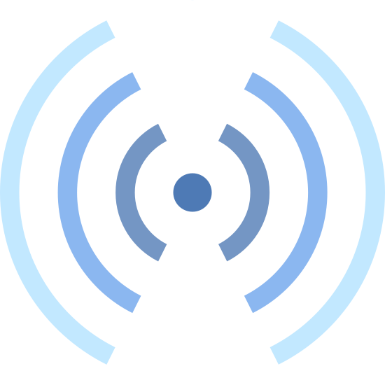 RFID Signal icon. This is a logo with a small filled in circle in the very center. To the left and to the right of this circle are three sets of lines, each a bit longer than the one before it closest to the circle. These lines curl to wrap around the circle.