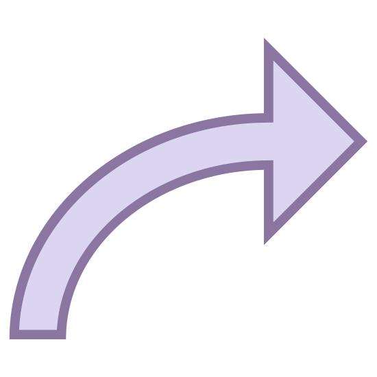 Prawo 2 icon. The right turn icon used by gps software to indicate a user that a right turn is coming up. A simple arrow, bent over to point to the right, tapering to a point at the small end.