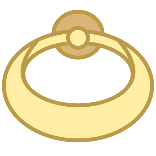 Pierścień - Widok z tyłu icon. This image represents the back view of a ring. There is a band that is coming towards the viewer and two circles at the top of the band in the image that depict the gemstone.