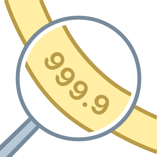 Ring Details icon. There is a circle that is a magnifying glass. it is going over a piece of paper that says 999.9 on it. it is making it larger to see.