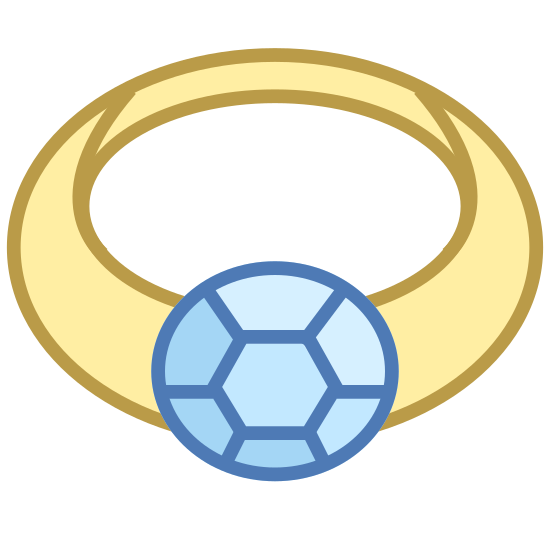 Pierścień - Widok z przodu icon. This is a picture of a ring. it has a hexagon shape in the center with lines coming from each angle of it. you are looking at the ring from the front view of it.