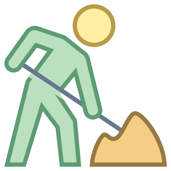 Trabajador de caminos icon. This is a picture of a person leaning over to the right, holding a stick that looks like a shovel, digging in to a pile of dirt that is on the ground.