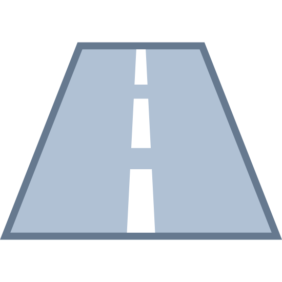 Road icon. This is a picture of a road that has two lanes. The middle of the lanes is separated by a dashed line. The road is fairly short and we are facing the direction towards the road, not across it.