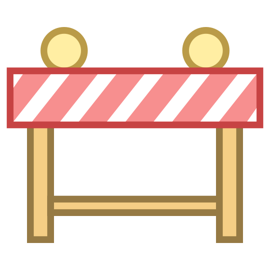 Roadblock icon. A roadblock is something to stop people from going on it. If you didn't want someone to go on a road, you'd put a roadblock to block off anyone from getting on it. It's a sturdy piece of wood, all put together with yellow warning flashing things to say don't get on this road!