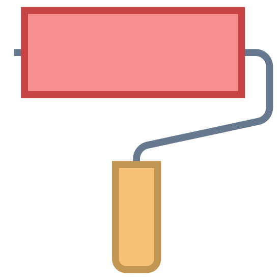 Paint Roller icon. The roller brush is a rectangle connected to a handle. The bottom of the handle is a smaller rectangle, and a line connects the smaller rectangle to the larger rectangle.