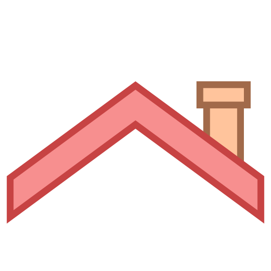 Roofing icon. Its an icon that looks just like the roof of a house. The two side are angled up and come to a point in the middle. There is also a chimney on the right side.