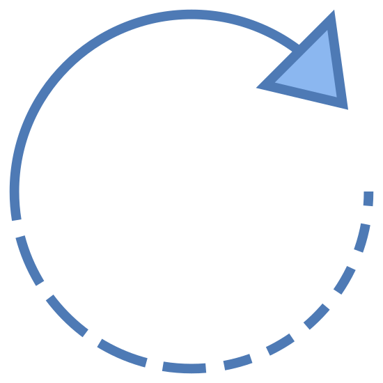 右に回転 icon. The icon resembles a circle. The top curved part of the circle has a point that is aiming towards the right. Starting from the middle left all the way around to the arrow point the line is dotted with dashes.