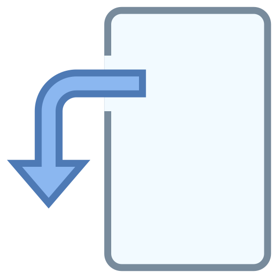 Tilt icon. This is an icon of your typical smartphone in the vertical position. It has a blank screen. Around the outside of the upper left corner, an arrow is wrapping around, pointing downward.