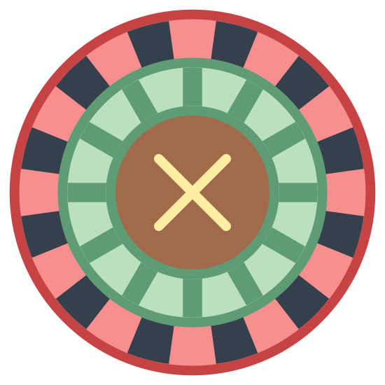 Ruletka icon. It's a logo of Roulette reduced to an image of a roulette circle. The roulette is a spinning circle with several square spots in which you bet your marble will land in, if not the house will win.