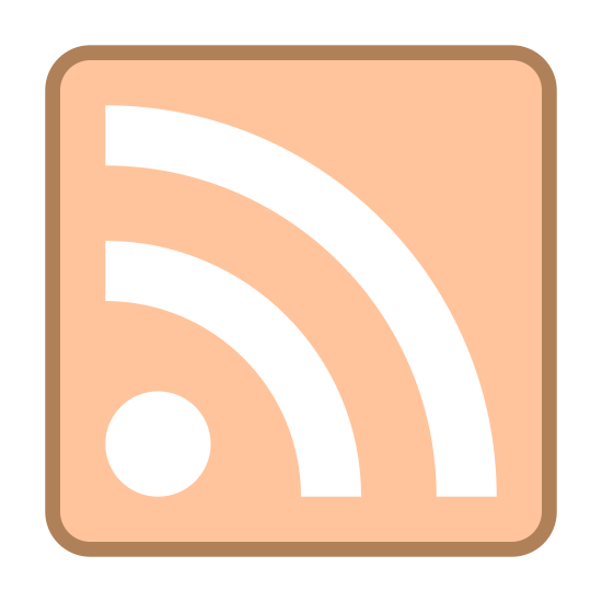 RSS icon. This is a picture of a square with two curved lines inside it, and a small circle in the bottom left hand corner. The lines are curved going out of the direction of the circle.