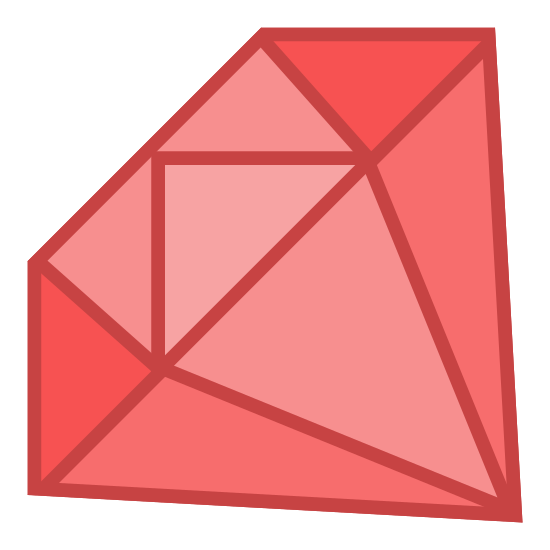 Ruby Gemstone icon. The icon is made up of eight triangle shapes. The top five are all turned in different directions. The bottom three are made up of two obtus triangle at the left and right and the middle one looks like a isosceles. Together they all form a gem-shape.