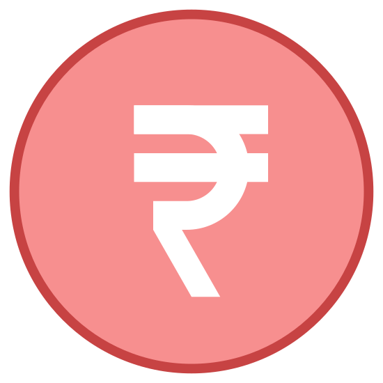 Rupee icon. There is a circle with a shape composed of four lines that are connected inside the circle. Of the four connected lines the top line is horizontal, then there is a curved line that passes through another line that is parallel to the first. Lastly there is a diagonal line that points downward from the bottom of the curved line.