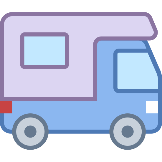 Camping icon. The icon is a very simplified depiction of an RV camper. The back is a small living space, moving to a front reminiscent of a van. The icon symbolizes a campground where recreational vehicles may camp for the night, implying possession of many services crucial to the living of an RV.