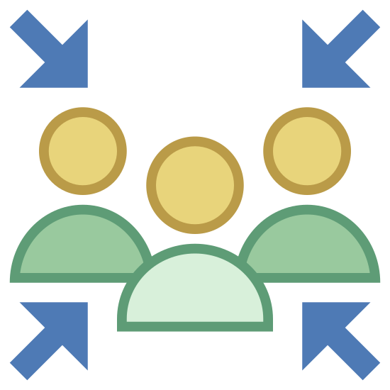 Safety Collection Place icon. The image is of a group of four people. All are shown as a simple head and shoulders outline only. They are close together in the center and there are four arrows pointing toward them from each diagonal direction.