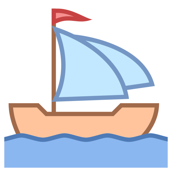 Sail icon. It's a logo of the Sailing Ship Medium pretty much reduced to a medium sailboat. The boat has two sails and a large hull. The waves and the current are pooling the boat east.