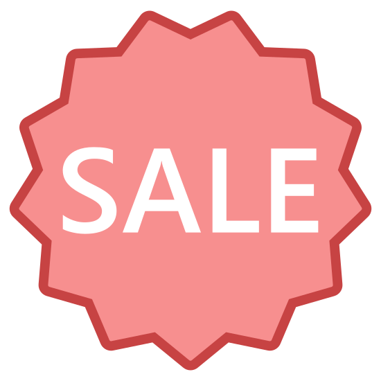 "Sale icon. This icon is the word ""sale"" inside a 13 point star outline. The star outline is oriented so that vertically, there is a point on either side of the line of symmetry on the top, and the line of symmetry divides a point in half on the bottom of the star."