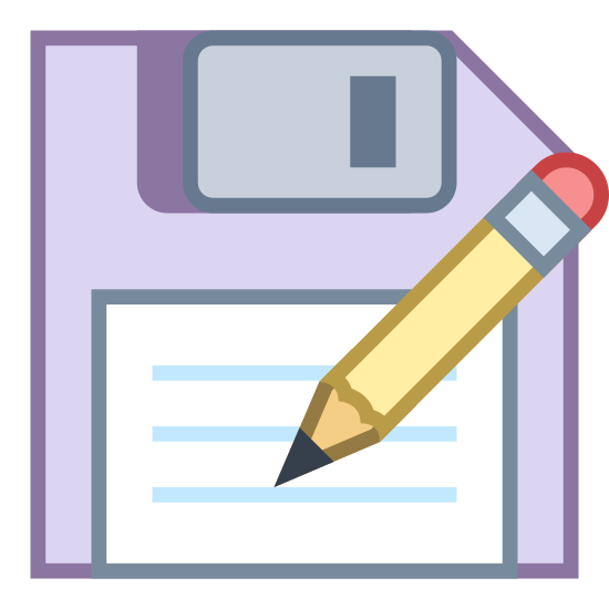 Save as icon. This is a picture of a floppy disk with a pencil on top, that seems to be writing something. The disk has a chipped side on it's top right corner. There is no writing on the disk.