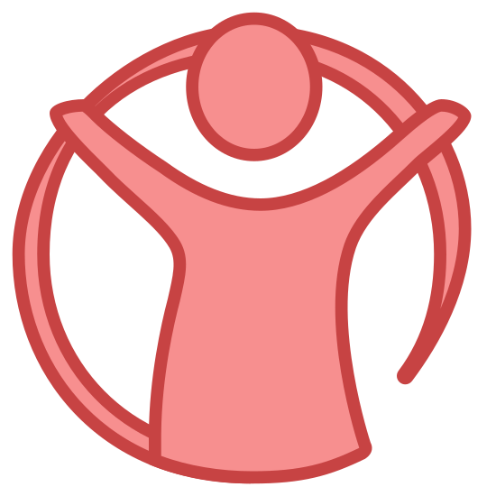 Save the Children icon. This icon is depicting a child with its arms outstretched in the center of a circle. The child is featureless and wearing a shirt. This icon is most commonly associated with the 'Save the Children' foundation.